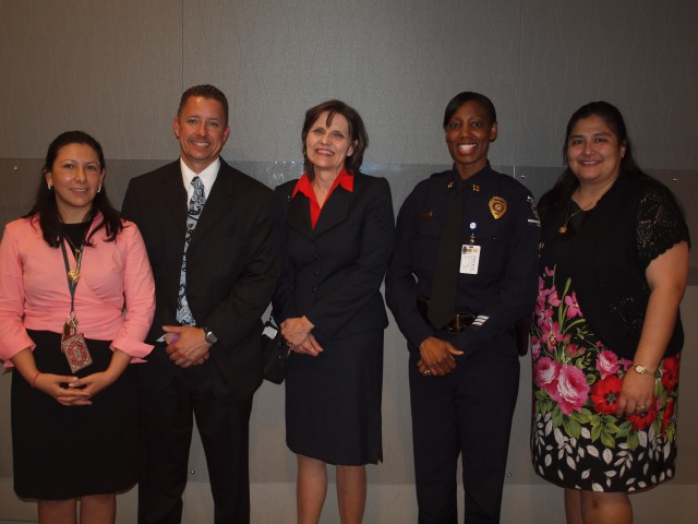 Left to Right: Instructor Susana Cisneros, FBI Ernesto Negrón, FBI Susan Conrad, CMPD Estella Patterson and Mecklenburg Courts Maura Elguera Chavez.