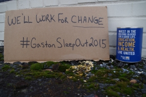 - UNITED WAY OF GASTON COUNTY Sleepout for the Homeless will be held Jan. 24 in the United Way of Gaston County's parking lot, 200 E. Franklin Blvd., Gastonia. Sign up for the event or find out ways to donate by visiting, http://unitedwaygaston.org/sleepout/ or by calling 704-864-4554.